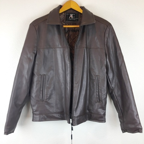 Ac Made In Italy Jackets Coats Brown Faux Leather Leather Jacket